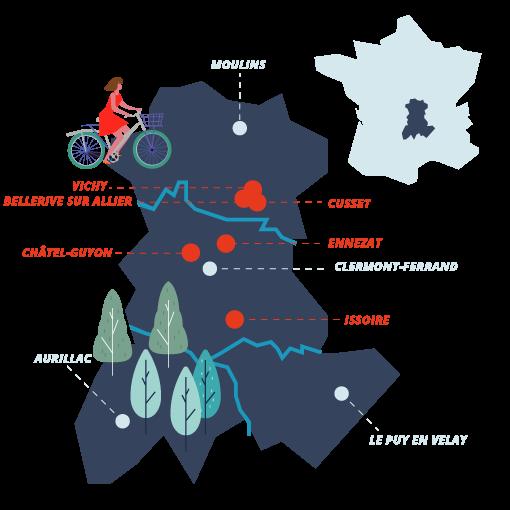 Carte des stations Koboo en Auvergne